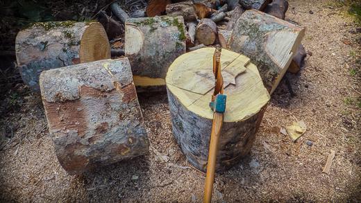 太いケヤキも斧で割り易い