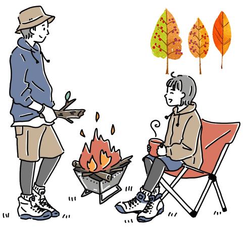 キャンプで焚火を楽しむ