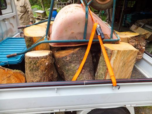運搬用の一輪車と桜の木を軽トラックに積む
